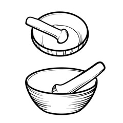 Mortar and pestle. Linear logo illustration. Cooking utensils. To prepare the seasoning.