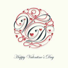 Cover design.Decorated letters V and D with a lots of little hearts on the white background and the phrase happy Valentine's Day in the bottom of the image.