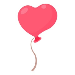 Heart shaped pink balloon icon, cartoon style