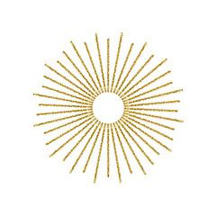 Sunburst gold glitter effect isolated on white background. Light starburst use for logo, labels and badges. Vector Illustration