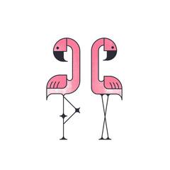 Two geometrical flat vector flamingo birds.