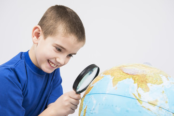 looking at earth trough magnifier