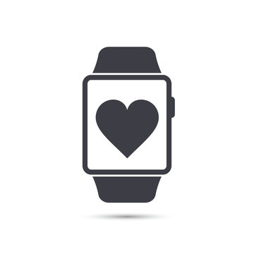 Smart watch icon with heart symbol. Vector.