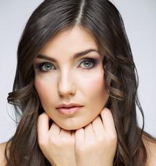 Beauty woman touching face portrait.