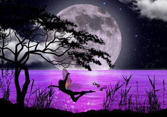Fairy dancing in the moonlight photo manipulation