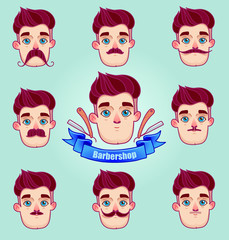 Set of different style mustaches.