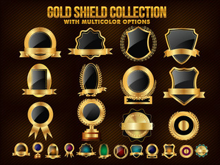 Collection of Golden Shield, Stickers, Labels or Ribbons.