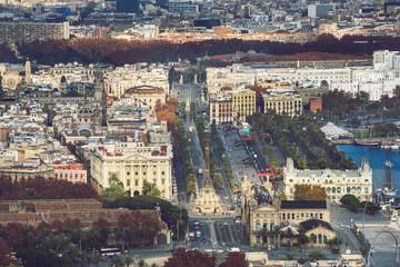Aerial cityscape of Barcelona