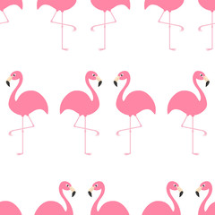 Flamingo Seamless Pattern Exotic tropical bird. Zoo animal collection. Cute cartoon character. Decoration element. White background. Isolated. Flat design.