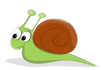 Vector illustrated cute snail with big eyes.