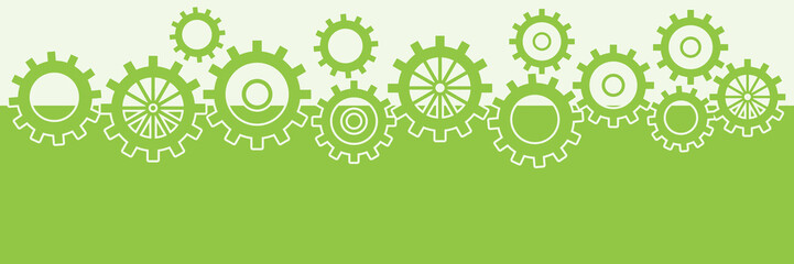 Green Horizontal Background With Gears