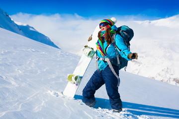 Woman, snowboard winter, rides, goggles
