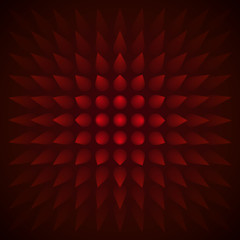 Volume abstract red background, many cones, 3d vector red wallpaper