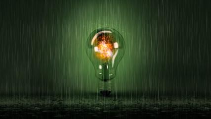Glühbirne mit Feuer und Regen vor grünem Hintergrund