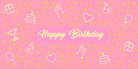 elegante und schöne Grußkarte zum Geburtstag mit Happy Birthday und Icons