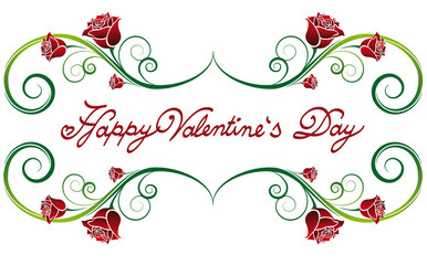 Happy Valentine's Day lettering fonts ornament with rose petals