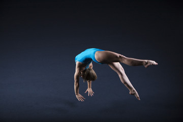 Gymnast doing back handspring