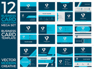 Set of Business Card Print Templates, Eps Vector Illustration, Modern and Creative Design