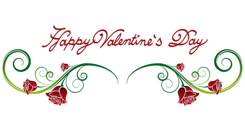 Happy Valentine's Day font ornament with rose petals