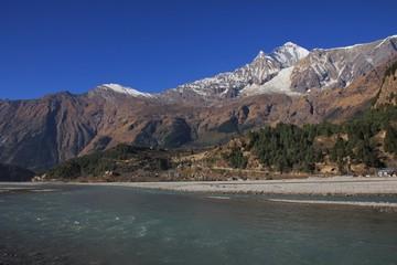 Kali Gandaki river and mount Dhaulagiri