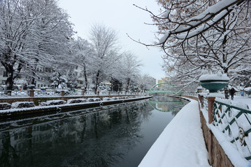 Nice winter landscape on Porsuk river and it's reflection in city center of Eskisehir, Turkey