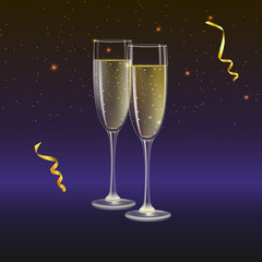 Glasses of champagne and streamer with rays of light on background. Champagne with bubbles in a wineglass with place for your text