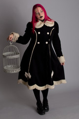 Gothic girl with bird cage #02