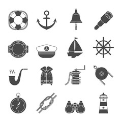 Black and white yachting icons set. Anchor, binocular, ropes, yacht, bell, lighthouse, life west
