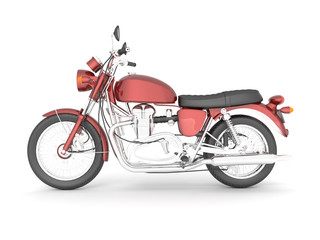 3D illustration red black isolated classic motorcycle.