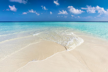 Aluminium Prints Beach Tropical beach with white sand and clear turquoise ocean. Maldives