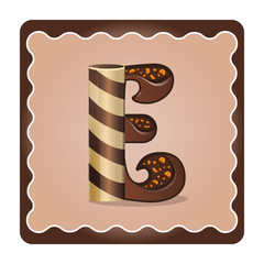 Letter e candies  chocolate