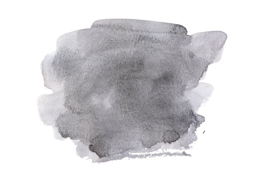 black ink abstract watercolor on white background