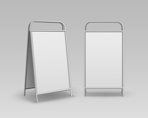 Vector Set of Metal Rectangular Empty Blank Advertising Street Handheld Sandwich Stands Sidewalk Signs Isolated on Background