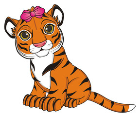 animal, cartoon, wild, cat, zoo, circus, dangerous, illustration, predator, hunter, tiger, horoscope, orange, stripes, striped, bow, pink, girl