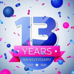 Thirteen years anniversary celebration on grey background. Anniversary ribbon