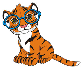 animal, cartoon, wild, cat, zoo, circus, dangerous, illustration, predator, hunter, tiger, horoscope, orange, stripes, striped,  blue, round, glasses