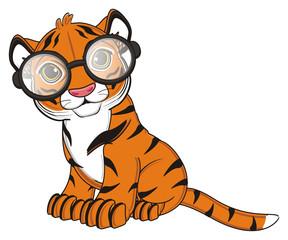 animal, cartoon, wild, cat, zoo, circus, dangerous, illustration, predator, hunter, tiger, horoscope, orange, stripes, striped, black, glasses