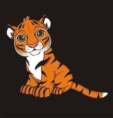 animal, cartoon, wild, cat, zoo, circus, dangerous, illustration, predator, hunter, tiger, horoscope, orange, stripes, striped, black