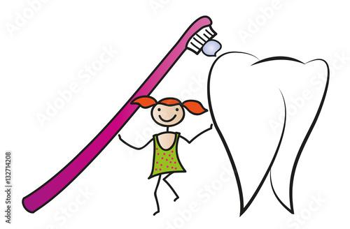 Zähne putzen - Zahnpflege und Hygiene bei Kindern, Mädchen mit ...