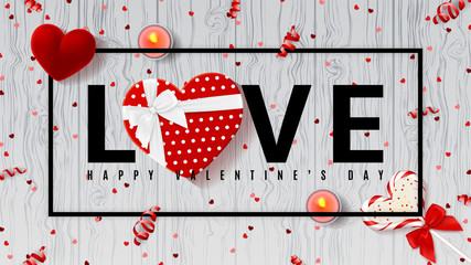 Web banner for Valentine's Day. Top view on composition with lollipop, gift box, case for ring, candles and confetti. Candy in the form of heart isolated on wooden texture. Vector illustration.