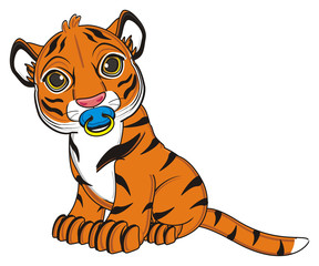 animal, cartoon, wild, cat, zoo, circus, dangerous, illustration, predator, hunter, tiger, horoscope, orange, stripes, striped, baby, nipple, sit