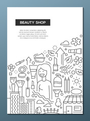 Beauty Shop - line design brochure poster template A4