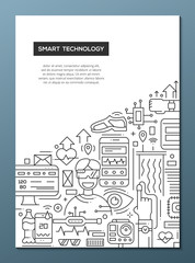 Smart Technology - line design brochure poster template A4