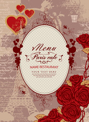 cover menu with a place for inscription to the Eiffel Tower and roses for Parisian street cafe
