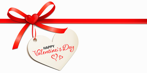 Red bow with heart-shaped tag and typography - Happy Valentine's Day
