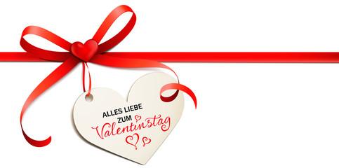 Rote Schleife mit Herzchen und Herz Etikett - Alles Liebe zum Valentinstag
