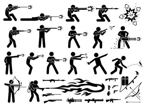 Man attacks with various weapons that includes sniper rifle, RPG, bazooka, M16 machine gun, shotgun, grenade launcher, chain machine gun, pistol, hand grenade, flash bomb, arrow bow, and flamethrower.
