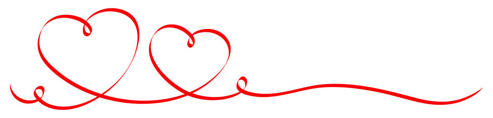 2 Red Calligraphy Hearts Ribbon Banner