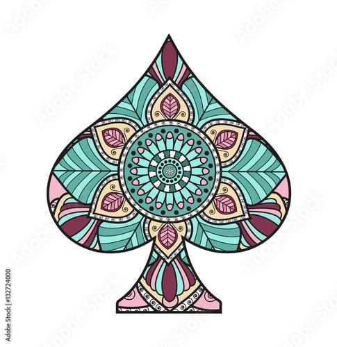 Simbolo Di Picche Colorato Decorato Vettoriale Isolato Su Sfondo