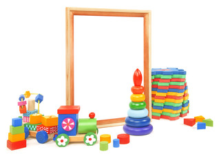 frame and many toys